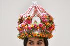 A model wears a creation by Dean Sharpes Floral Studio at the 2019 RHS Chelsea Flower Show in London on May 20, 2019. — AF
