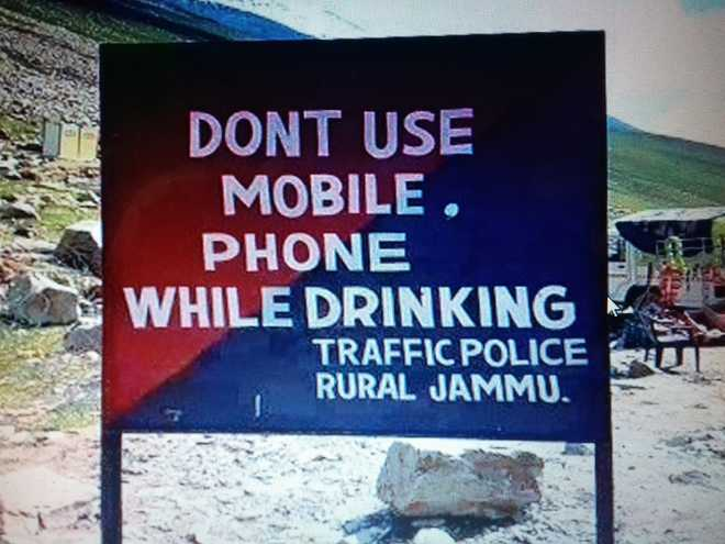 'Driving' changed to 'drinking' on police signboard, inquiry ordered
