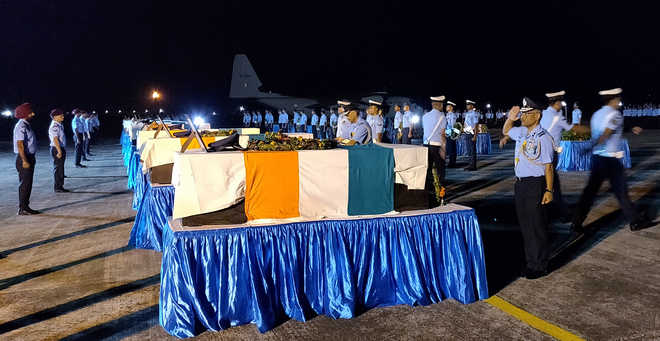 Mortal remains of 2 IAF personnel consigned to flames