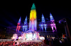 The city hall is illuminated ahead of the opening ceremony of the 26th Life Ball in Vienna, Austria on June 8, 2019. — Reuters