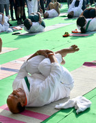 Defence Minister Rajnath Singh performs yoga at Rajpath during the 5th International Day of Yoga, in New Delhi, Friday, June 21, 2019. Tribune photo: Manas Ranjan Bhui