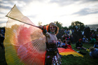 A festival goer dances during sunset at the stone circle during Glastonbury Festival at Worthy farm in Somerset, Britain, on June 26, 2019. — Reuters