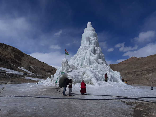 In cold desert Ladakh, ice stupas store hope for locals