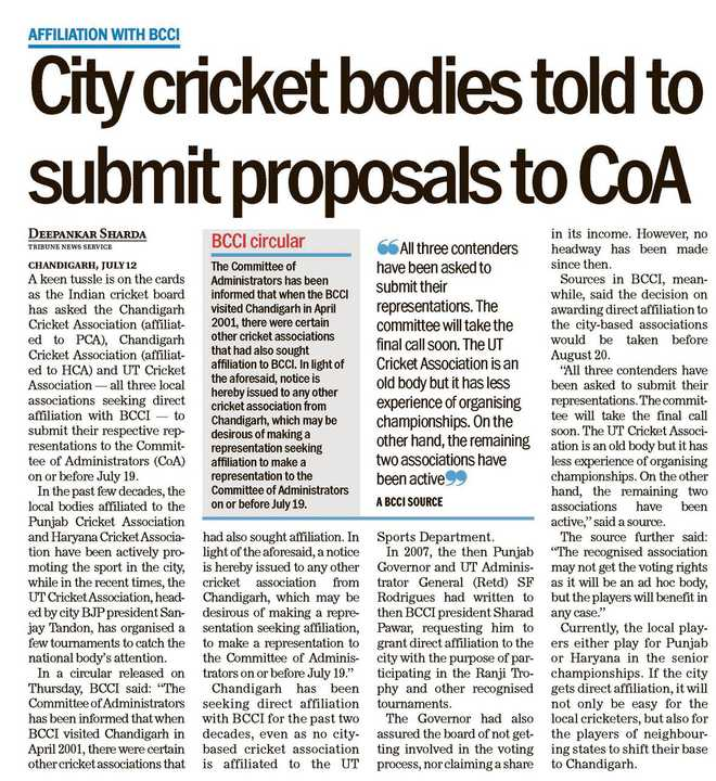 BCCI wants one association in UT