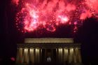 Fireworks explode over the Lincoln Memorial during the Fourth of July celebrations in Washington, DC, July 4, 2019. — AFP