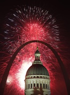 Fireworks light up the night sky over the Gateway Arch and Old Courthouse as part of an Independence Day celebration Thursday, July 4, 2019, in St. Louis. — PTI