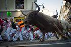 Participants run next to Nunez del Cuvillo fighting bulls on the sixth bullrun of the San Fermin festival in Pamplona, northern Spain on July 12, 2019. — AFP