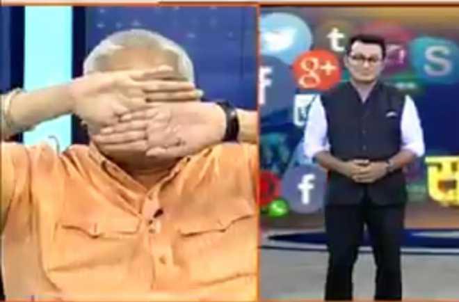 Hum Hindu's Ajay Gautam refuses to look at Muslim TV anchor; covers his eyes