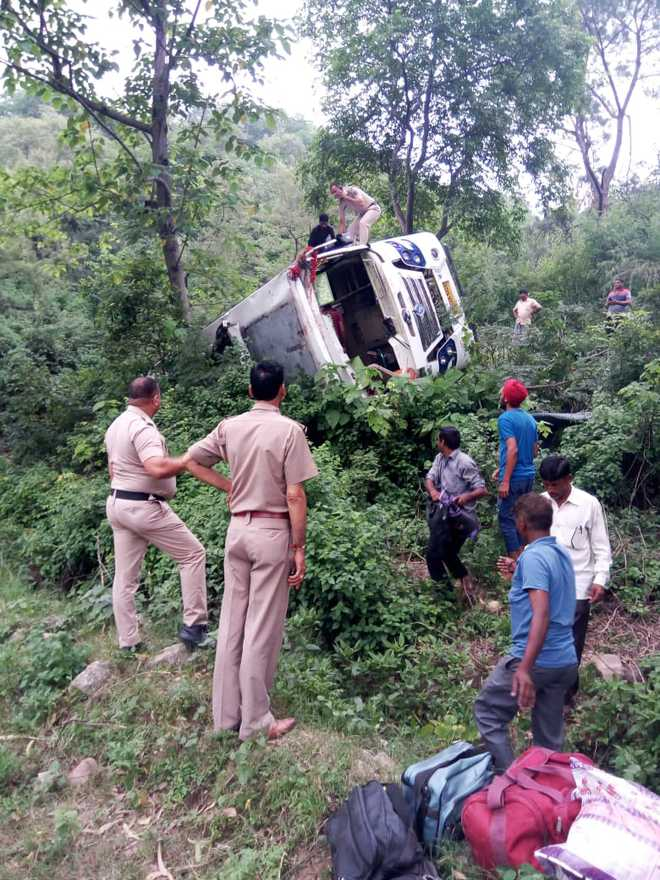 30 pilgrims from Abohar injured as bus falls into gorge in