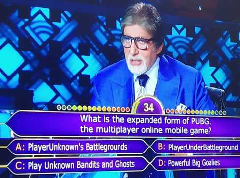 Amitabh Bachchan asks full form of 'PUBG' on KBC, contestant ends up using lifeline