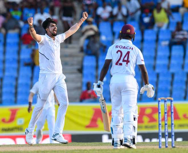 Ishant's fifer puts India on top in 1st Test, West Indies trail by 108 runs