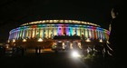 A view of illuminated Parliament, in New Delhi, Tuesday, Aug 13, 2019. The exterior of Parliament has been installed with permanent colourful lights ahead of the 73rd Independence Day celebrations and was inaugurated by PM Narendra Modi. — Tribune Photo