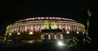 New facade lighting at Parliament house inaugurated by Prime Minister Narendra Modi in new Delhi on Tuesday. — Tribune Photo