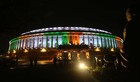 A view of illuminated Parliament, in New Delhi, August 13, 2019. The exterior of Parliament has been installed with permanent colourful lights ahead of the 73rd Independence Day celebrations and was inaugurated by PM Narendra Modi. — Tribune Photo