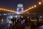 People gather near the illuminated India Gate to celebrate on the occasion of 73rd Independence Day in New Delhi, August 15, 2019. — PTI