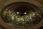 A picture taken on August 14, 2019 in the city hall of Brussels shows a floral structure during the annual Flower time festival. — AFP