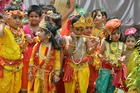 School children dressed as the Hindu deity Krishna and Radha take part in an event ahead of Janmashtami festival in Siliguri on August 22, 2019. — AFP