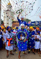 A Sikh person performs Gatka during a religious procession on the occasion of the 415th installation anniversary of Sri Guru Granth Sahib, in Amritsar on August 31, 2019. — PTI