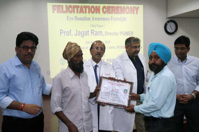Kin of eye donors felicitated