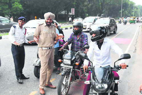 Helmetless riding most violated traffic rule in city