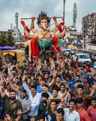 Hindu devotees carry an idol of the elephant god Ganesha on the first day of the Hindu festival Ganesh Chaturthi festival in Nagpur on September 2, 2019. PTI photo