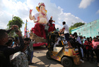 An idol of the elephant god Ganesh is loaded onto a supply truck on the first day of the Hindu festival of Ganesh Chaturthi festival in Ahmedabad on September 2, 2019. Reuters