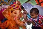 A devotee prays to elephant god Ganesha on the Hindu festival of Ganesh Chaturthi in Amritsar on Monday. PTI photo