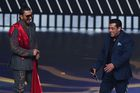 Bollywood actors Salman Khan and Ranveer Singh react on stage during the 20th International Indian Film Academy (IIFA) Awards at NSCI Dome in Mumbai on September 18, 2019. — AFP