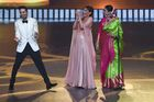 Bollywood actors Ayushmann Khurrana and Alia Bhatt laugh as Rekha looks on during the 20th International Indian Film Academy (IIFA) Awards at NSCI Dome in Mumbai early on September 19, 2019. — AFP